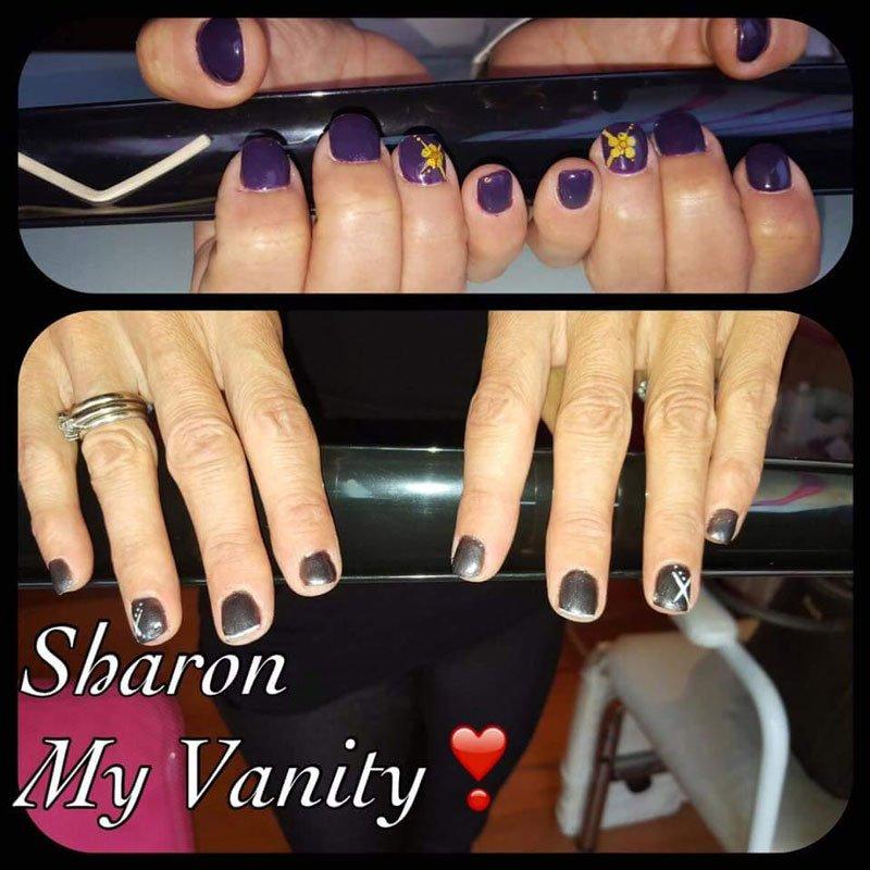 due foto di unghie viola e nere e la scritta Sharon My Vanity