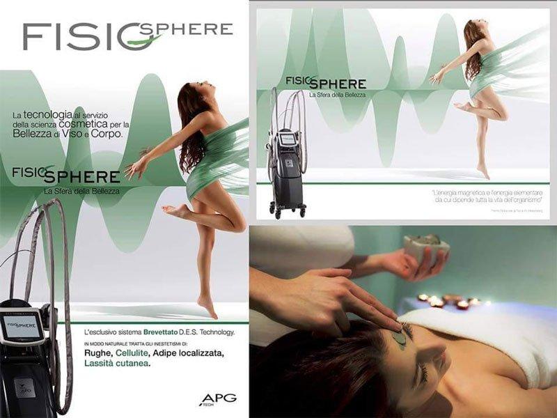 delle brochure con scritto Fisio Sphere con un macchinario per la bellezza del viso e del corpo e una ragazza