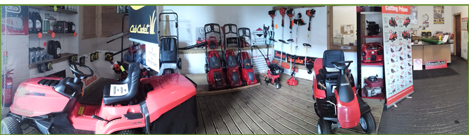 showroom of garden equipment showing Lawn mowers, strimmers and 4x4 vehicles