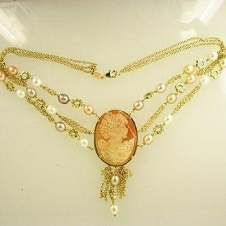 cammeo, oro, perle di fiume