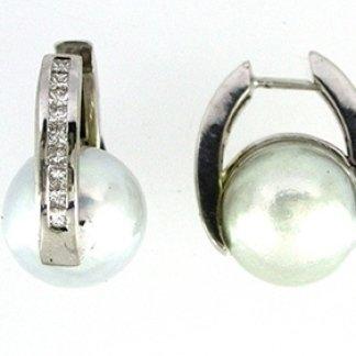 orecchini, perle, diamanti