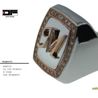 anello, mignolo, iniziale, diamanti, monogramma