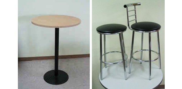 flair office furniture workstations table and chrome bar stools