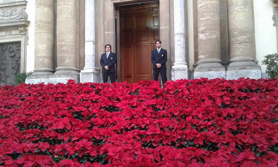 vista di un aiuola di fiori rossi e in lontananza due persone in piedi vicino all'entrata di una chiesa
