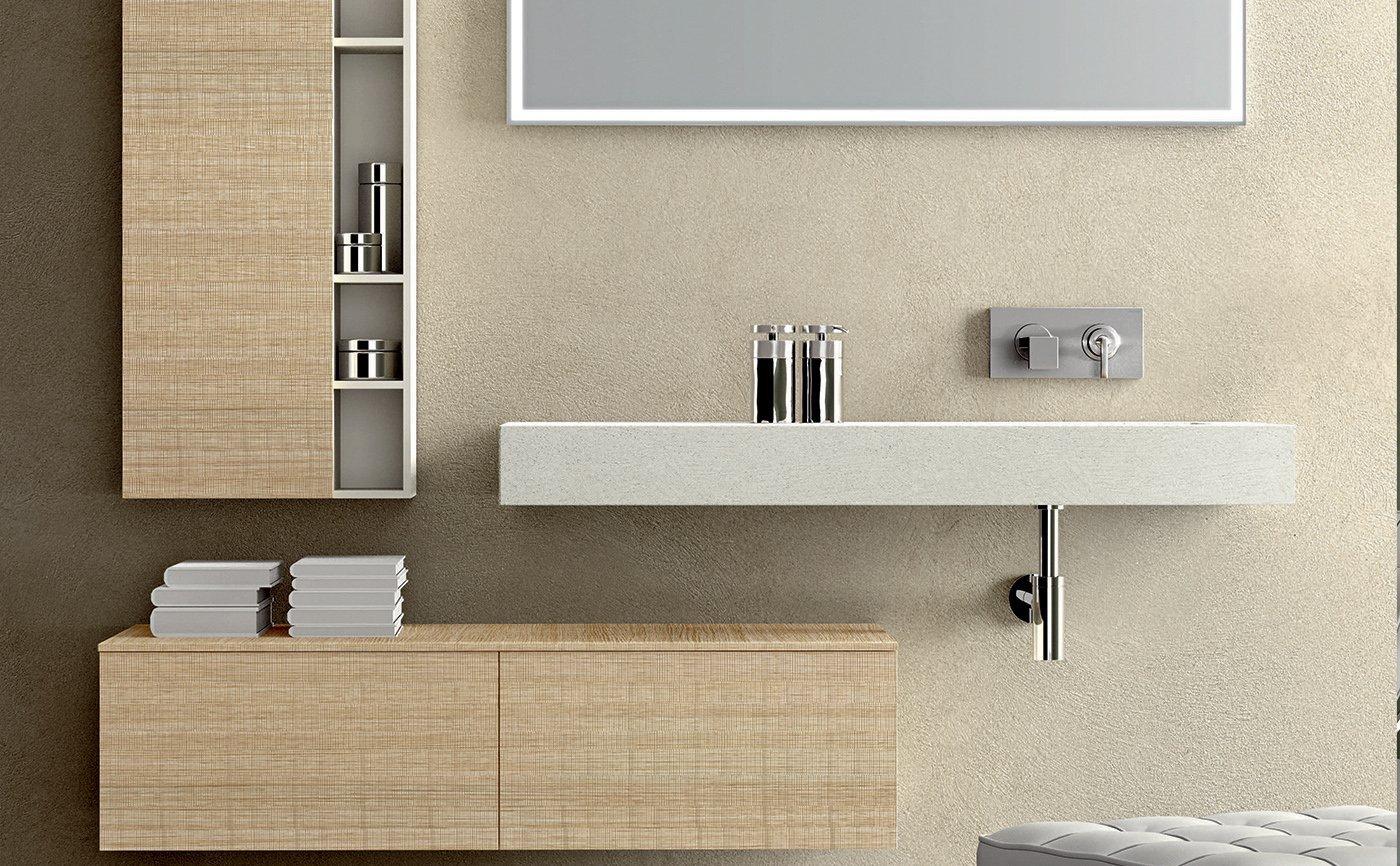 dei mobili da bagno di color bianco