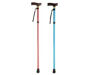 Assorted coloured folding walking stick