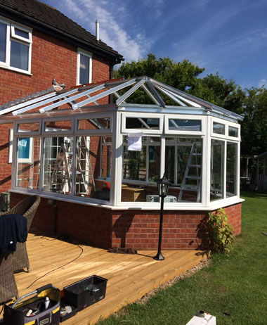 conservatory roof replacement under construction