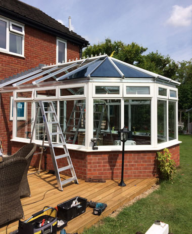 conservatory roof replacement near completion