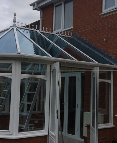 newly installed conservatory guttering