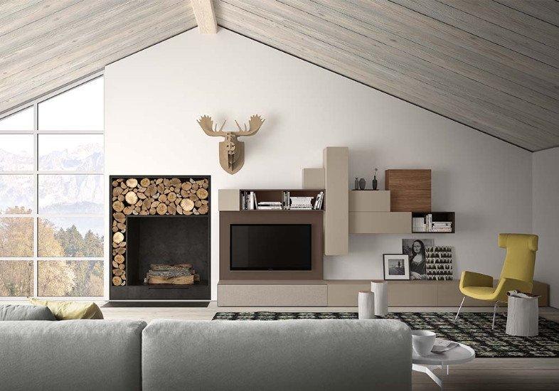 una sala con un divano di color grigio, una poltrona di color giallo e un mobile Tv moderno
