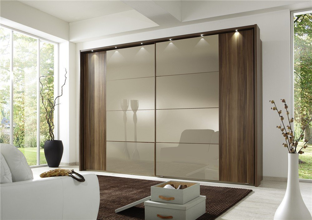 brown wood around wardrobe