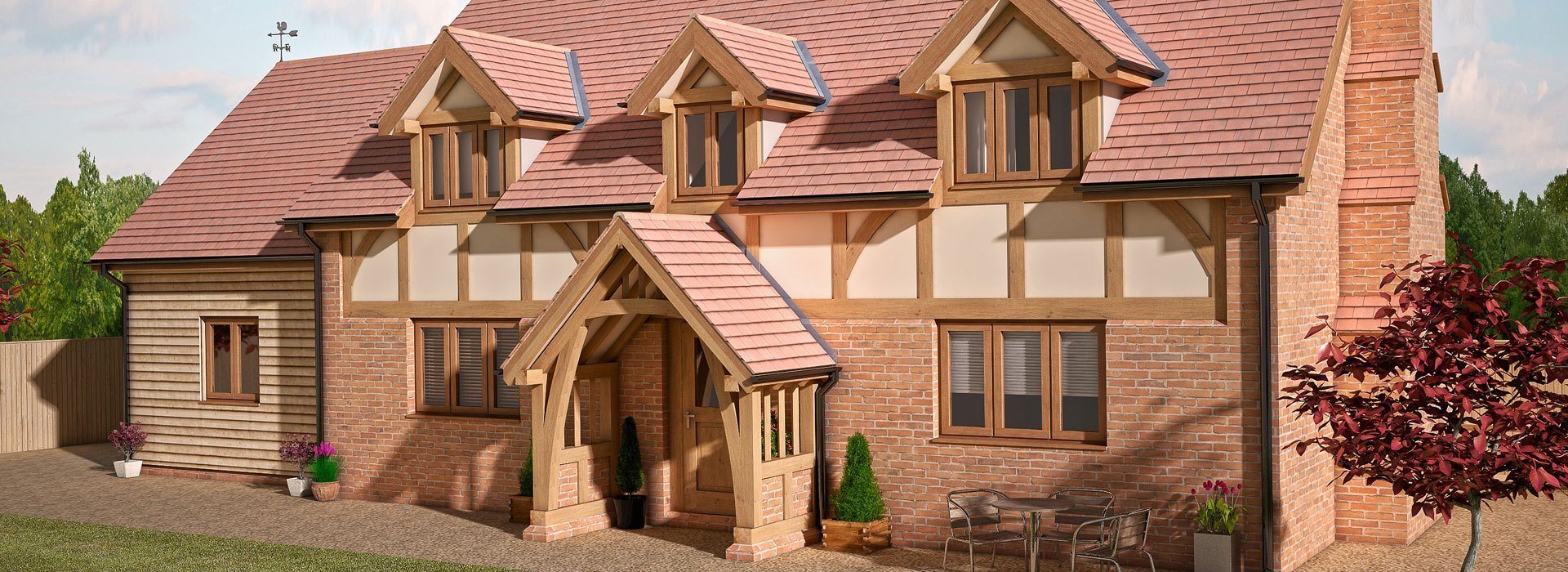 A large new build house with wooden window frames and roof windows