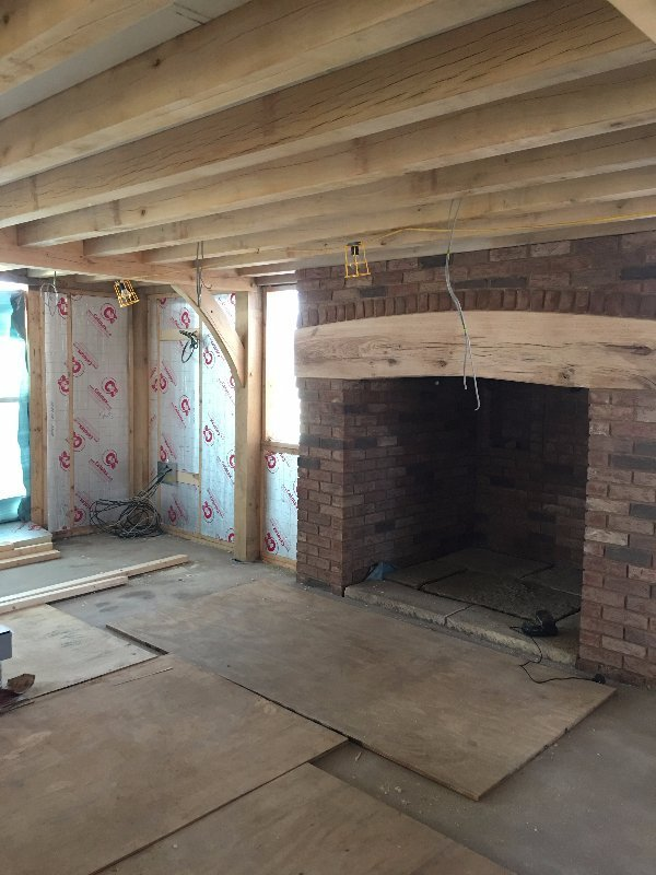 Oak floor joists to be left exposed as oak ceiling beams in traditional luxury home in Shropshire