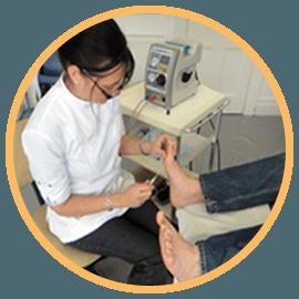 foot treatment in progress