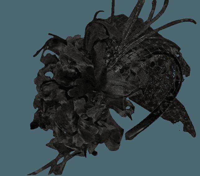 Cerchietto fiori in seta rete e piume OMBRETTA