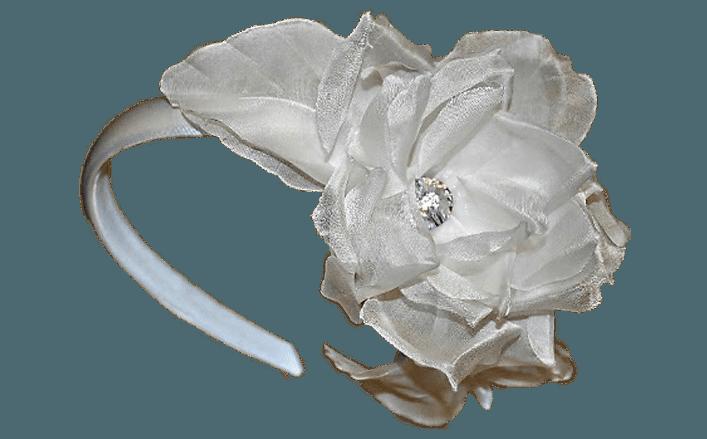 Cerchietto fiori in seta e strass HURI