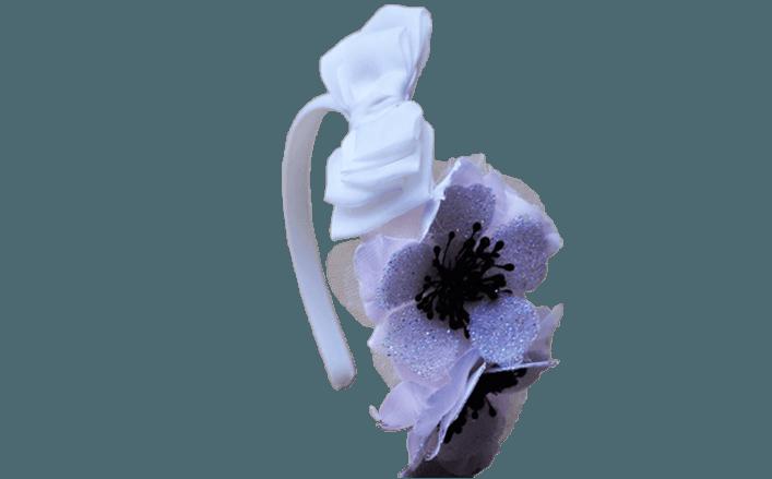 Cerchietto fiore in organza e strass GLENNA