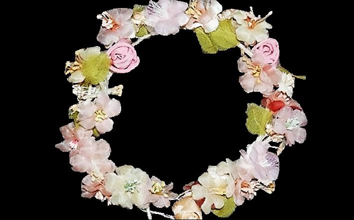 Coroncina fiori raso e seta con strass AMOR