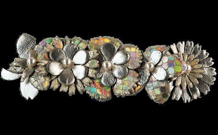 Fascetta di fiori in pelle con strass ROMINA cm10
