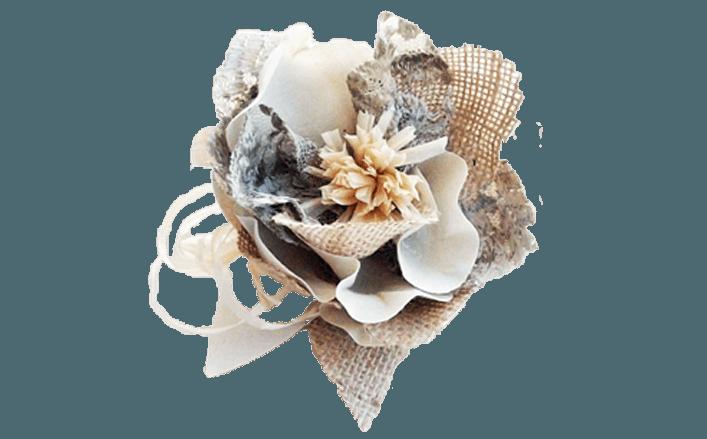 Fiore in iuta rafia e cotone lucido GRETA cm10