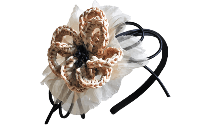 Cerchietto in raffia e cotone GINGER
