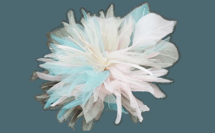 Iris in organza e piume SHIVA cm13