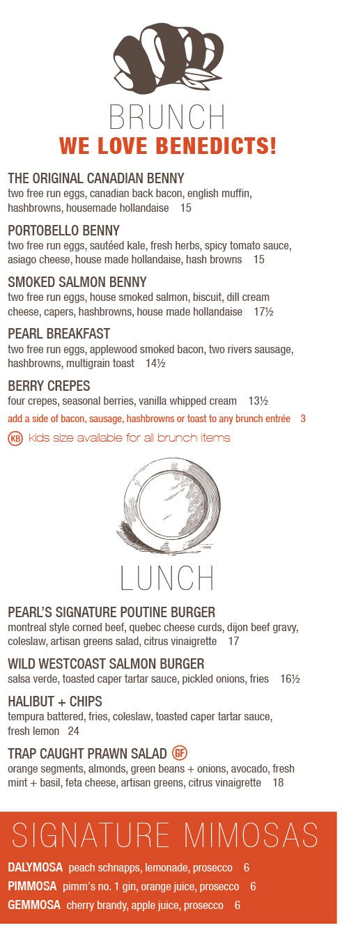 Mother's Day brunch and lunch menu