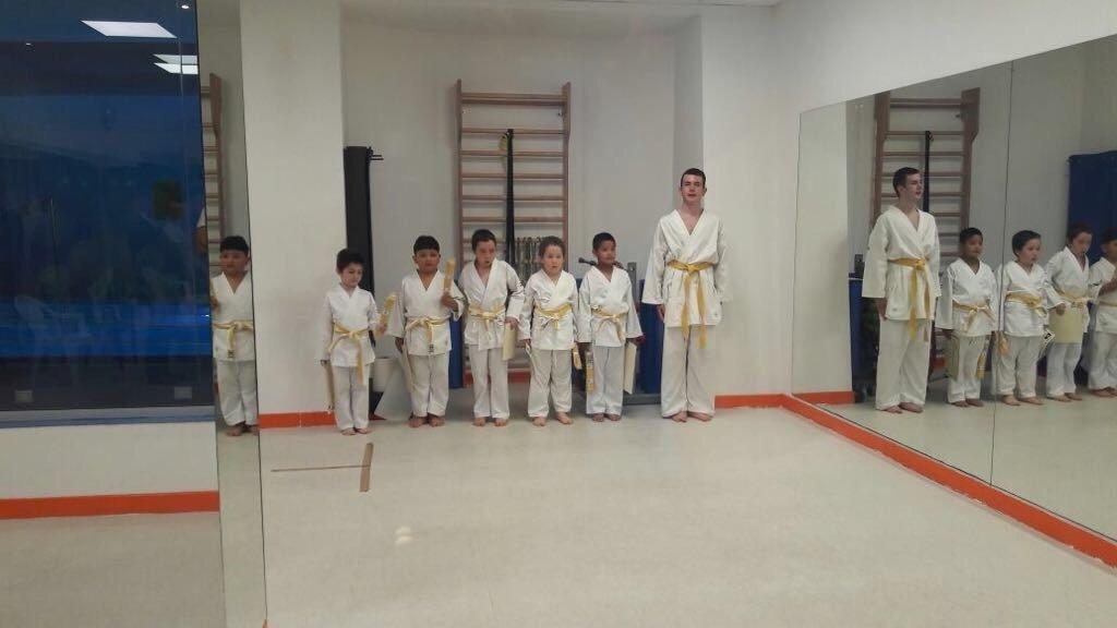 Lezione di karate per bambini con il loro maestro
