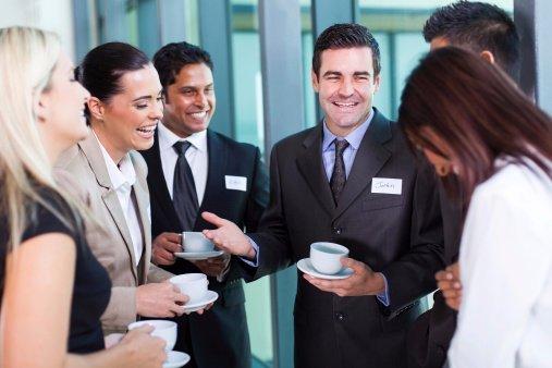 coworkers enjoying coffee