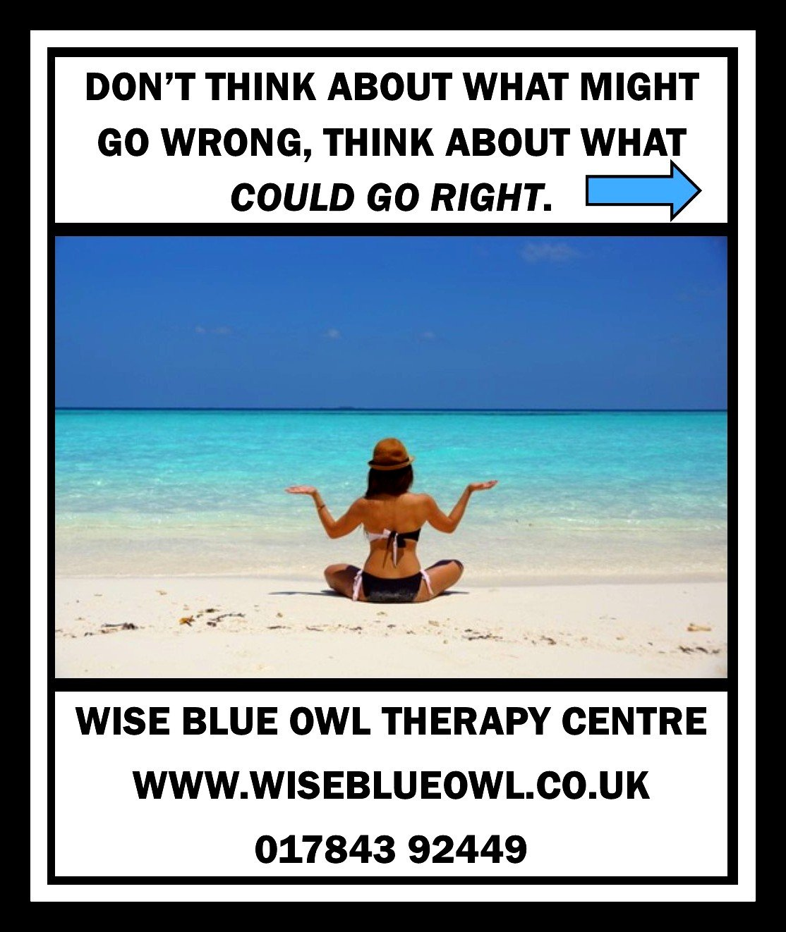 woman on a beach after having stress therapy at wise blue owl therapy centre