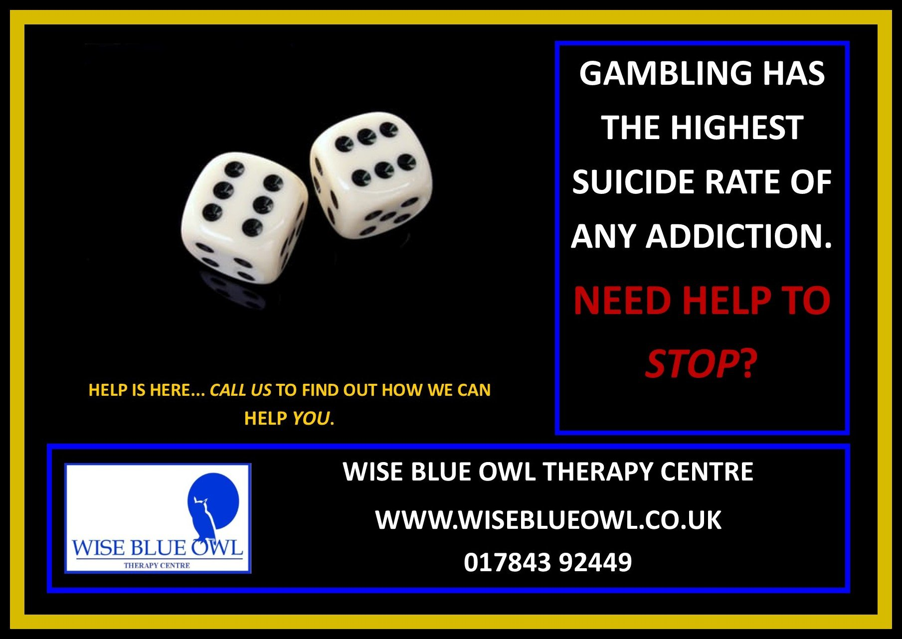 gambling addiction poster for wise blue owl therapy centre