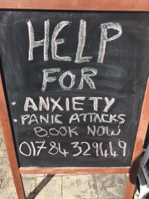 blackboard advitising anxiety help at wise blue owl therapy centre