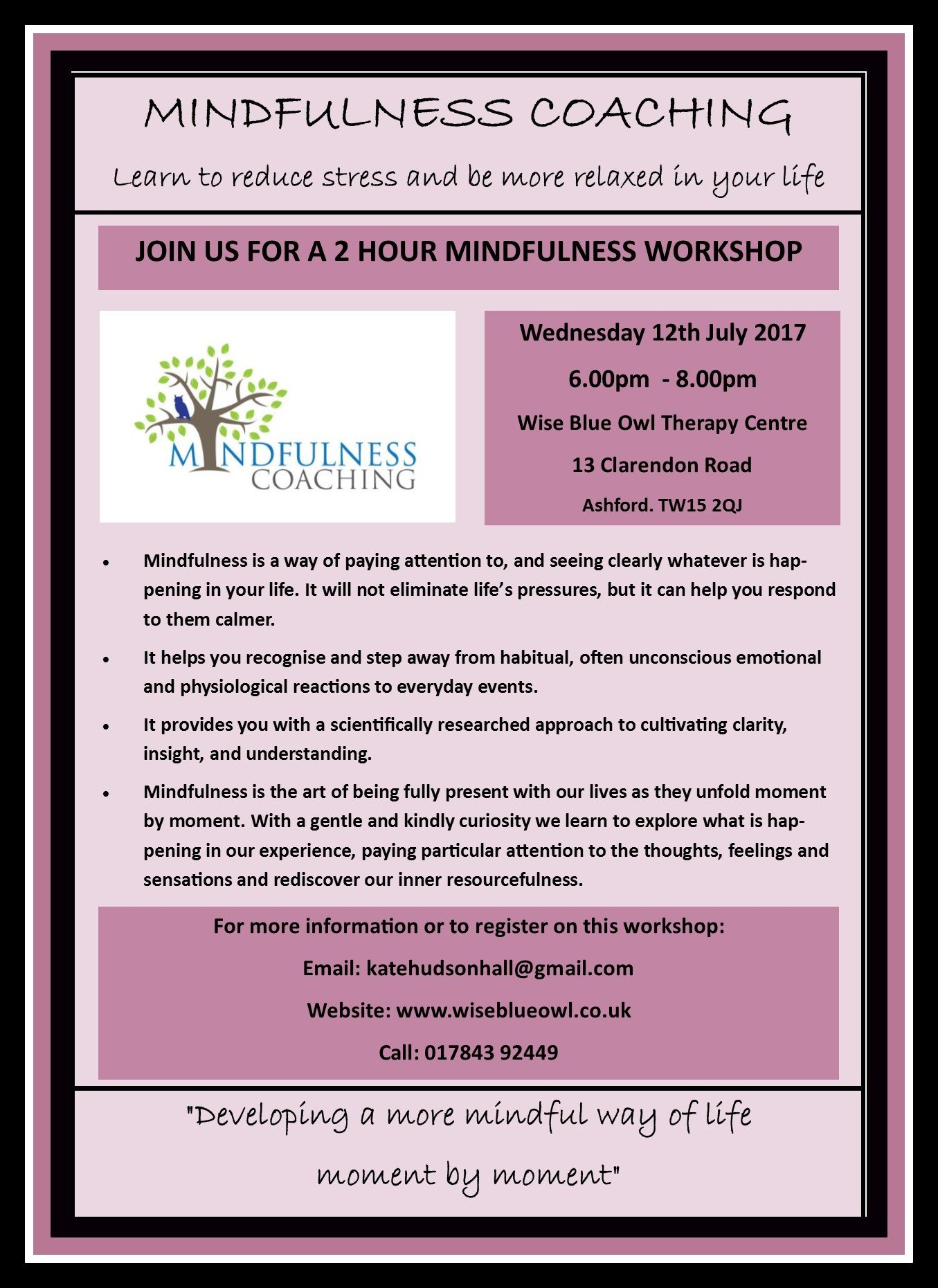 Mindfulness Course,Ashford,Staines,14th July 2017