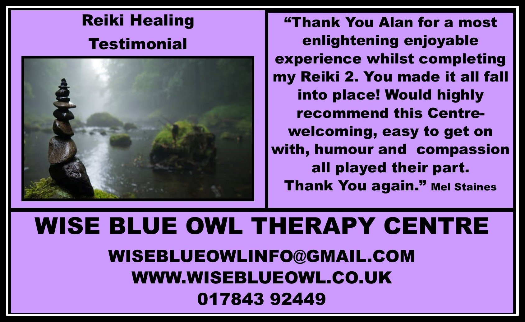 reiki training courses poster for wise blue owl therapy centre