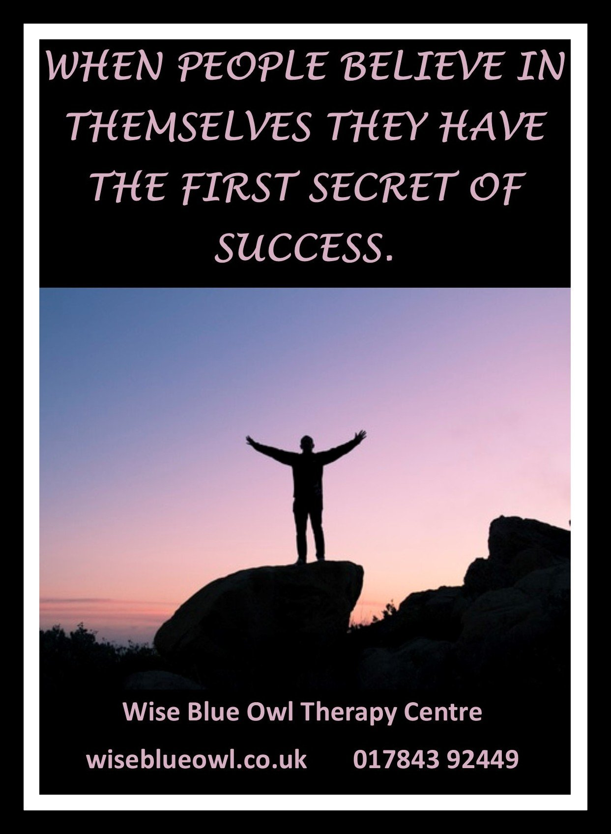 man standing on a mountain now anxiety free after hypnosis at wise blue owl therapy centre