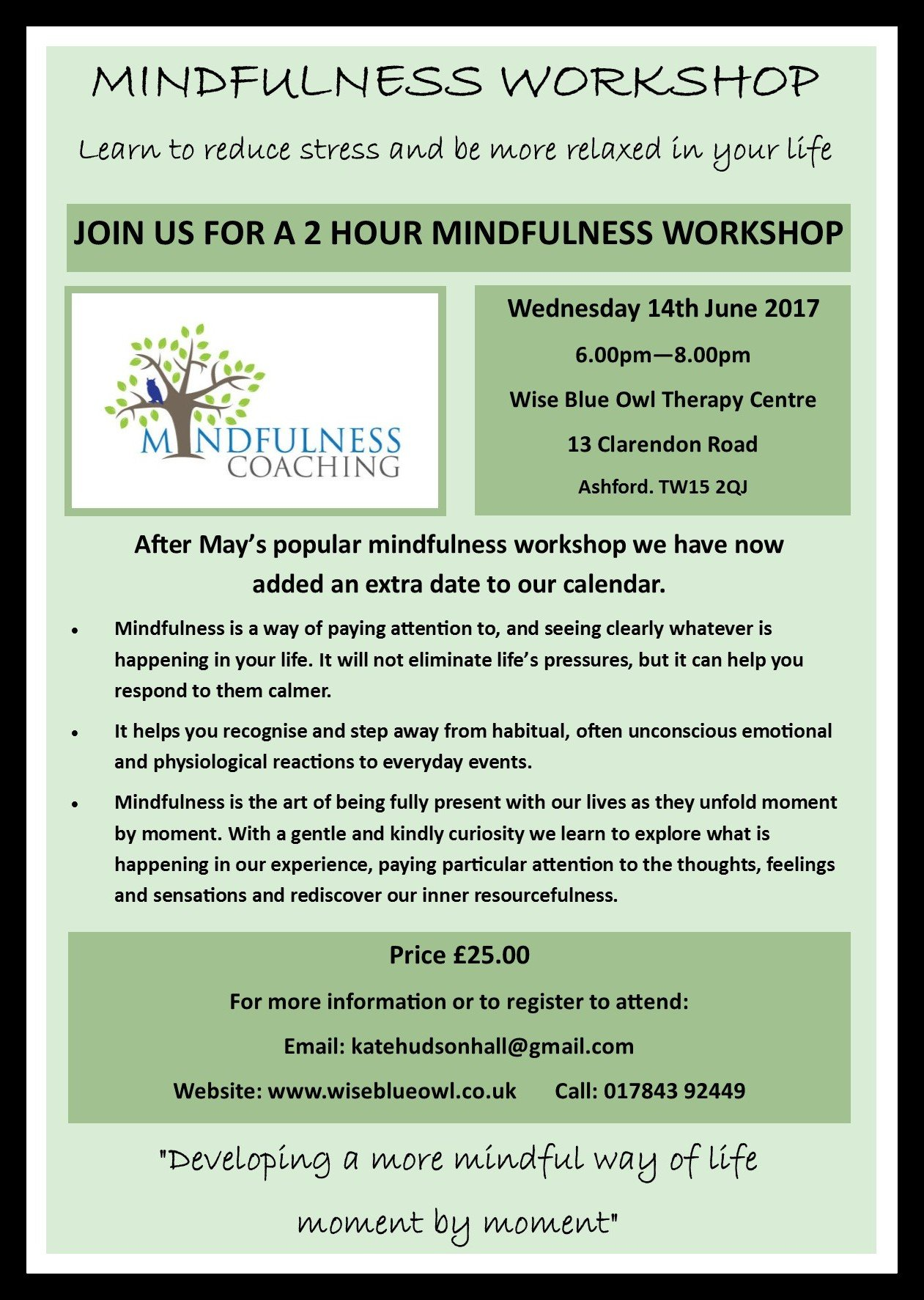 mindfulness workshop poster