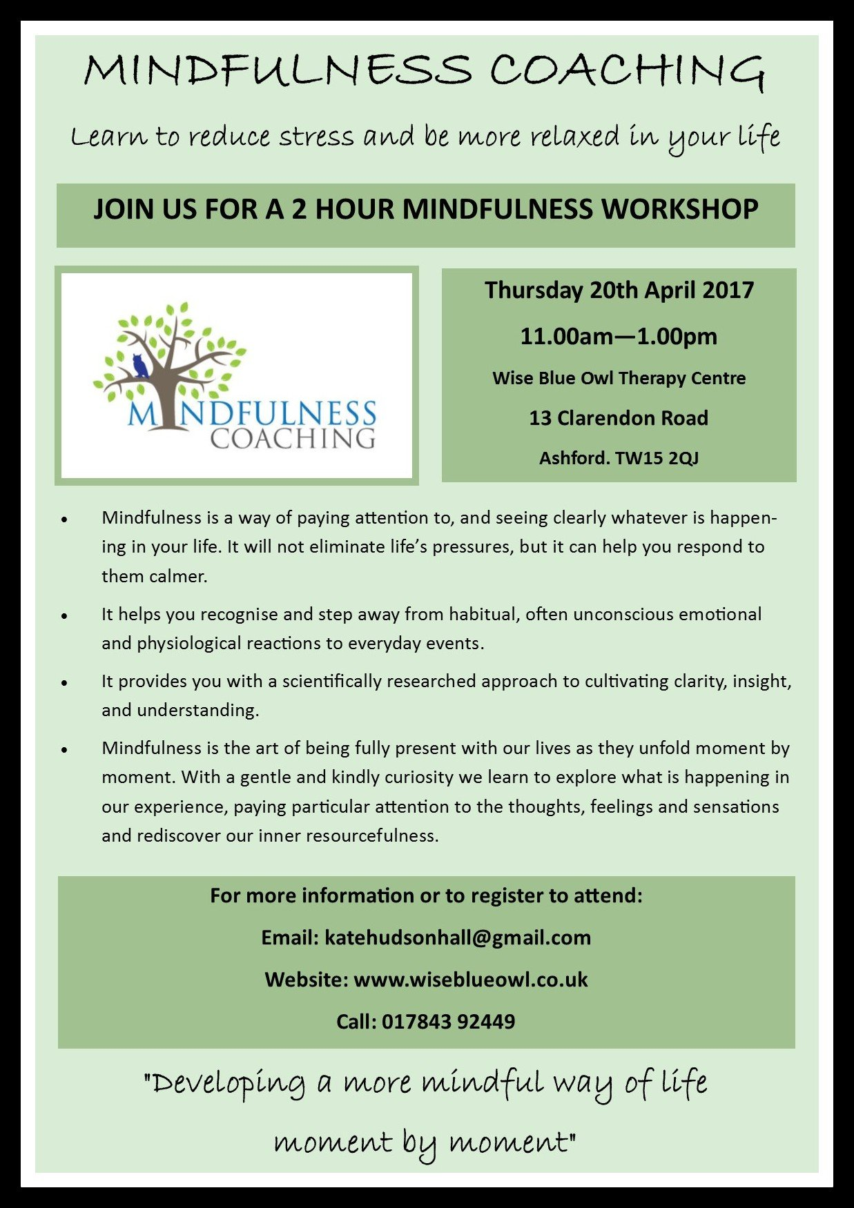 mindfulness course April 2017