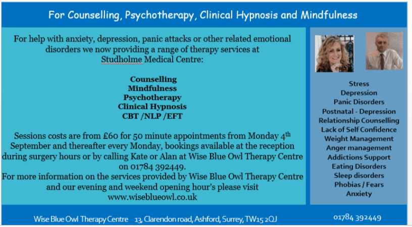 counselling, mindfulness, hypnotherapy at studholme medical centre in ashford surrey