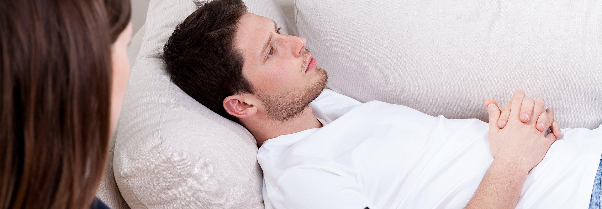 man having hypnosis for depression