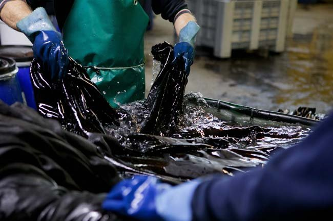 hands washing leather