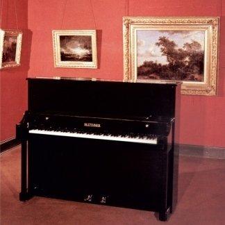 vista interna di una stanza con pianoforte e parete decorata color rosso