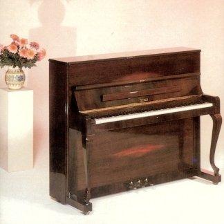 pianoforte in legno massello con un vaso di fiore