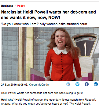 Narcissist Heidi Powell wants her dot0com and she wants it now, now, NOW!