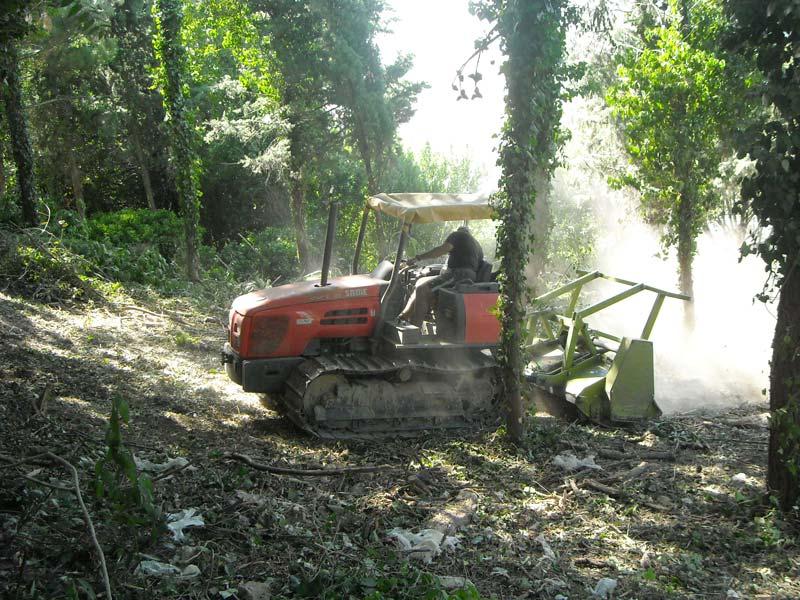 Spianando la terra del parco con la macchina a Ostra Vetere