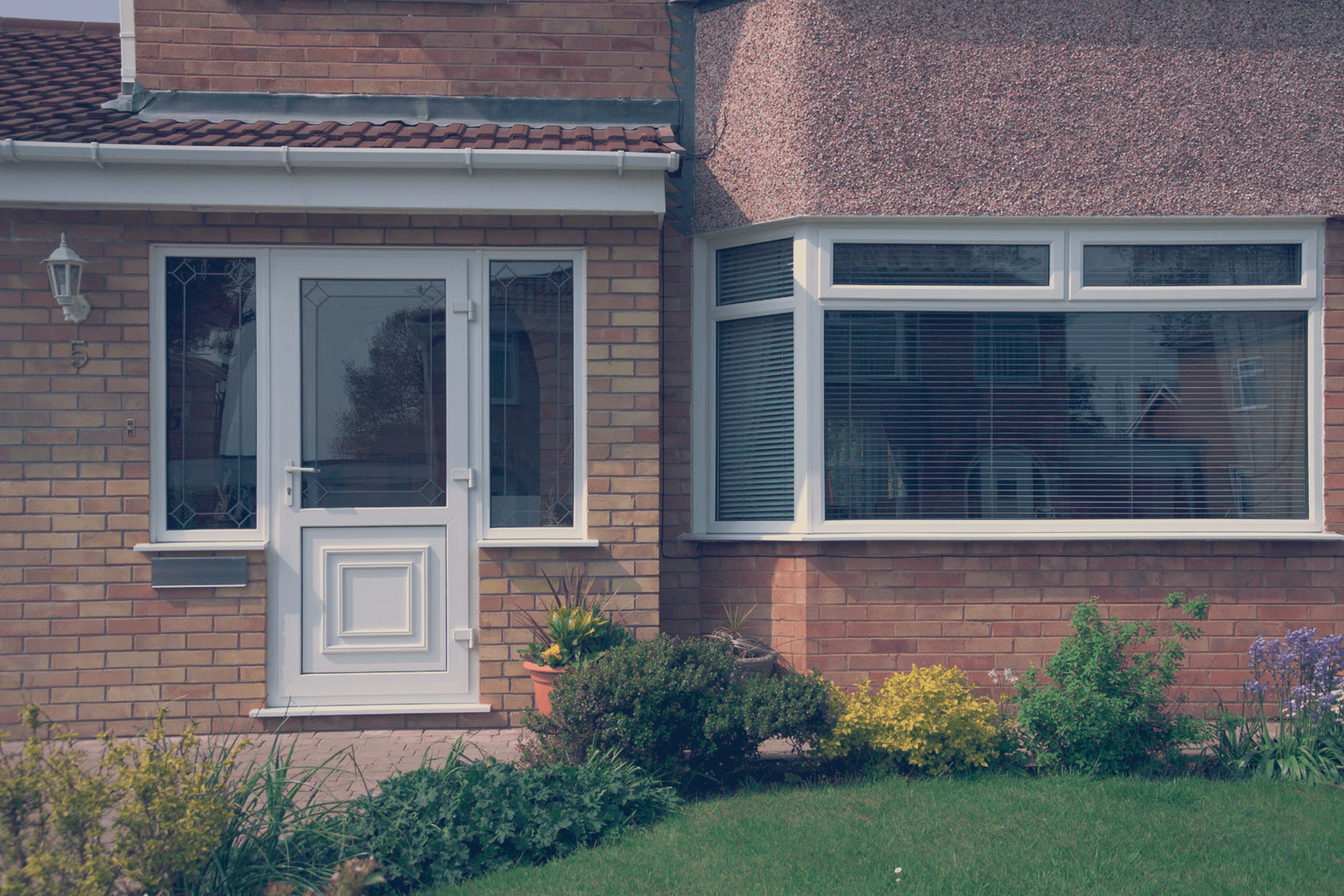 house door and window with blinds