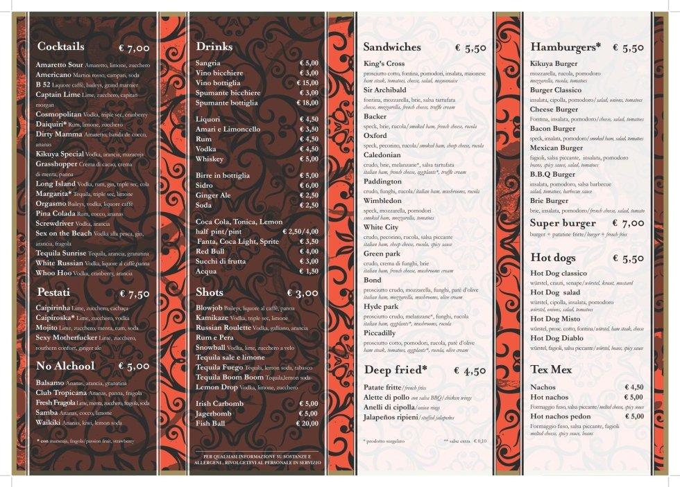 Il menu del Kikuya Pub