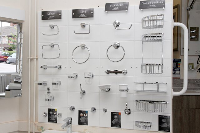 toilet roll holders, towel rails and shower fittings
