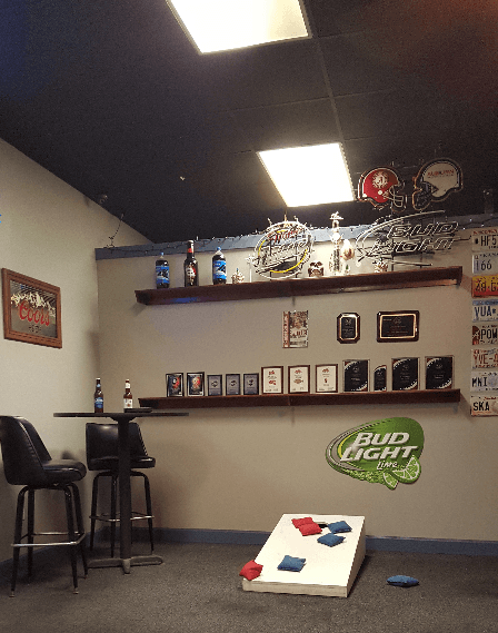 Customer playing pool at the sports bar in Foley, AL