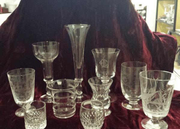 vasi e calici e bicchieri in cristallo soffiato e molto a diamante -tutti personalizzabili