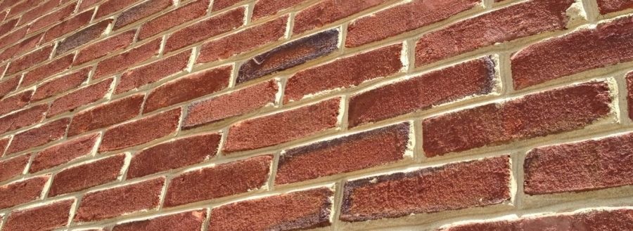 Closeup of a red brick wall